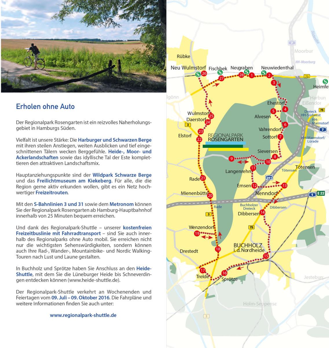 Regionalpark Rosengarten Karte